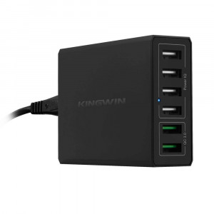 Kingwin Intelligent Quick Charge (IQ) Technology Quick Charge 3.0 Technology 6-Port USB Charger (K-6U02Q3)