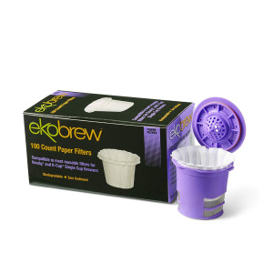 Ekobrew 100 Count Paper Filter, Compatible In Most Reusable Filters for Keurig and K-Cup - White