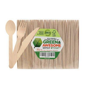 """Disposable Wooden Cutlery Set - 300 pc,100 Forks, 100 Spoons, 100 Knives, 6"""" Length Eco-Friendly 100% Compostable Biodegradable, Natural Wooden Utensils, Party Use, Camping by GREEN and AWESOME"""