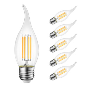 B11 Flame Tip LED Filament Bulbs E26 Candelabra BaseLVWIT 40W Equivalent Dimmable 3000K Soft White Chandelier Candle Light Bulb (6-Pack)