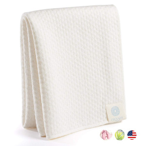 Organic Bamboo Cotton Towel Soft Luxury Care for Sensitive Skin and Natural Hair Dry 15X35 Eco Protection for Travel Gym Yoga and Daily Face Wash Extra Absorbent Cleans Eyes Fiber Free Made in USA