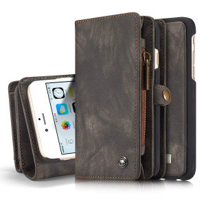 """iPhone 6s Detachable Wallet Case XRPow 2In1 Multi-Functional Removable Magnetic Back Cover 11 Card Slots and 3 Cash Pocket Premium Folio Zipper Wallet Case for iPhone 6/6s 4.7"""" BLACK"""