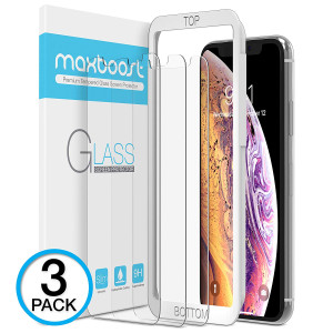 Maxboost Screen Protector for Apple iPhone Xs and iPhone X (Clear, 3 Packs) 0.25mm iPhone Xs/X Tempered Glass Screen Protector with Advanced Clarity [3D Touch] Work with Most Case 99% Touch Accurate