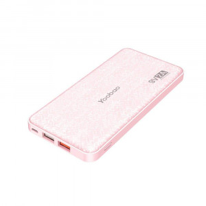Yoobao Portable Charger 12000mAh Ultra Slim Power Bank Q12 Qualcomm Quick Charge 3.0 External Battery Pack Fast Charge Powerbank Compatible Samsung S9/S9+ iPhone X/8/8+ Huawei Google LG and More-Pink