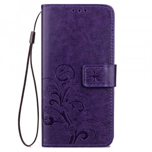 Galaxy J7 Prime,J7 V,j7 Perx,J7 Sky Pro Case, Flower Embossed Leather Wallet [Kickstand Feature] [Wrist Strap] [Credit Card Holder] Flip Folio Protective Case Cover for Samsung Galaxy J7 2017 (Purple)