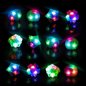 Glow Rings LED Party Favors for Kids  Light Up Rings Glow in The Dark Party Supplies, LED Finger Lights, Stocking Stuffers or Rave Accessories (36pk)