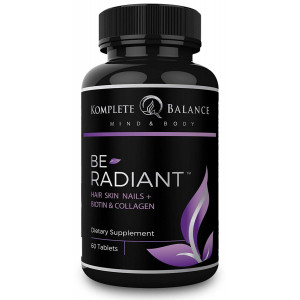 BeRadiant - Full Spectrum Hair Skin and Nails Vitamins for All Hair Types - Biotin, Collagen, Antioxidants and Powerful Herbs for Healthy Skin, Faster Hair Growth and Stronger Nails - Stop Hairloss