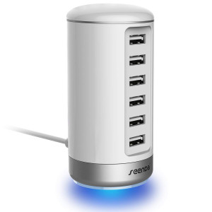 USB Wall Charger, Seenda USB Phone Charger : 6-Port Multi USB Charger with Smart Identification - White