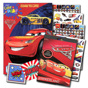 Disney Cars 3 Coloring Book and Stickers Super Set Bundle ~Disney Cars Coloring Book with Disney Cars Stickers and Specialty Jumbo Reward Stickers