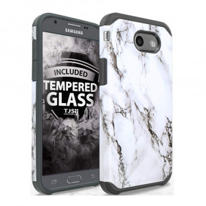 TJS Samsung Galaxy J3 Emerge/J3 Prime/Amp Prime 2/Express Prime 2/Sol 2/J3 Mission/J3 Luna Pro/J3 Eclipse Case, with [Tempered Glass Screen Protector] Marble Shockproof Phone Case Armor Cover (White)