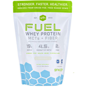 FUEL Whey Protein Powder (Coconut) by SFH | Great Tasting Grass Fed Whey | MCTs and Fiber for Energy | All Natural | Soy Free, Gluten Free, No RBST, No Artificial Flavors | 2lb Bag (896g) 28 Servings