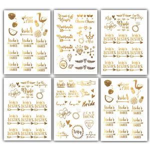 Team Bride Bachelorette Temporary Tattoos - 100 Bride Tribe Metallic Tattoo Boho Designs Gold Silver (6 Sheets) Bachelorettesy Zoe Collection
