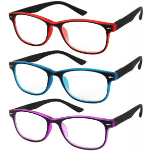 Reading Glasses Set of 3 Spring Hinge Comfort 3 Color Fashion Readers Glasses for Reading Men and Women