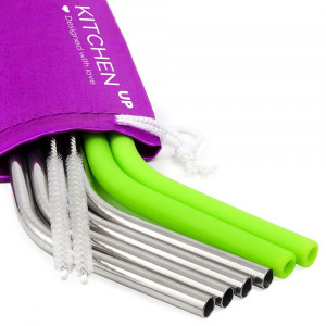 REGULAR SIZE Silicone Straws and Stainless Steel Straws Set - Reusable Straws for 30 oz Tumbler Yeti/Rtic - 6 Reusable Straws + 2 Brushes + 1 Purple Storage Pouch for Silicone and Metal Straws