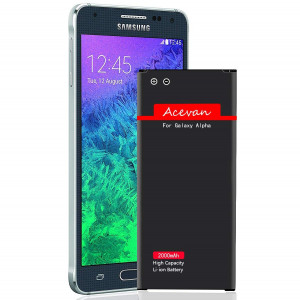 Galaxy Alpha Battery G850 Acevan 2000 mAh Li-ion Replacement Battery for Samsung Galaxy Alpha, SM - G850A (atandT), G850T (T-Mobile), G850F, G850H, G850M, G850W, G8508S, G8509V [3 Year Warranty]