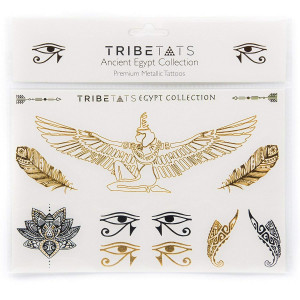 Ancient Egypt Collection - Designer Metallic Flash Temporary Tattoos by TribeTats - Black and Gold Egyptian, Henna Inspired Body Art - Includes: Armbands, Feathers, Goddess Isis - Boho Music