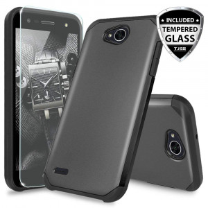 LG X Power 2 M320 Case, LG Fiesta LTE Case, LG X Charge Case, LG Fiesta 2 Case, with TJS [Tempered Glass Screen Protector] Ultra Thin Slim Hybrid Shockproof Protection Rugged Case Armor Cover (Black)