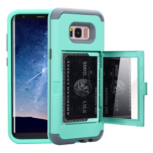 Galaxy S8 Case, NOKEA Wallet Case Card Slot Hidden Pocket Layered 3 in 1 Hard PC Case Silicone Shockproof Heavy Duty High Impact Armor Hard Case for Samsung Galaxy S8 (2017). (Mint)