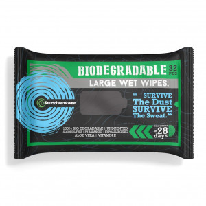 Surviveware Biodegradable Wet Wipes for No Rinse Bathing and Showers. Great for Camping, Travel, Body Cleansing, Personal Hygiene and Cleaning. Vitamin E and Aloe Enriched. Hypoallergenic and Unscented