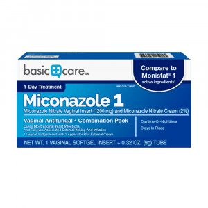 Basic Care Miconazole 1 Vaginal Antifungal Combination Pack