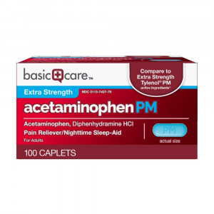Basic Care Extra Strength Acetaminophen PM Caplets, 100 Count