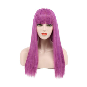 Karlery Long Straight Purple Flat Bang Cosplay Wig Halloween Costumes Party Wig
