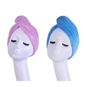 Microfiber Hair Dry Towel for Hair Quick Drying, 2 Pack Hair Wrap Turban Head Shower Cap with Button, Travel Hair Fast Dryer Wraps Hat for Women