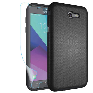 Galaxy J7 V 2017 Case,Galaxy J7 Perx Case,Galaxy J7 Prime/ J7 Sky Pro/Halo Case with Screen Protector,NiuBox Dual Layer Armor Shock Absorption Protective Phone Case for Samsung Galaxy J7V 2017-Black