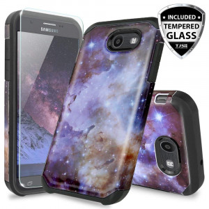 Samsung Galaxy J7 Sky Pro Case, Galaxy J7 Perx Case, Galaxy J7 V Case, Galaxy Halo Case, Galaxy J7 Prime Case, with TJS [Tempered Glass Screen Protector] Hybrid Shockproof Marble Case (Stardust)