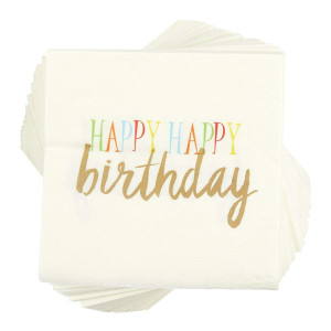 Birthday Party Cocktail Napkins - 100 Pack Rainbow Happy Birthday Disposable Paper Party Napkins, Perfect for Birthday Table Decorations and Party Supplies for All Ages, 5 x 5 Inches Folded, White