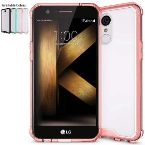 LG K20 Plus Case,LG K20 V Case,LG Harmony Case,LG Grace Case with HD Screen Protector,NiuBox Armor Ultimate Crystal PC Cover TPU Bumper Absorption Protective Clear Phone Case for LG K10 2017 Rose Gold