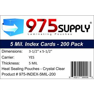 """975 Supply - Index Card Laminating Pouches - 5 Mil - 3-1/2"""" x 5-1/2"""" - 200 Pouches"""