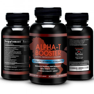 Alpha-T Testosterone Booster - Naturally Increase Testo-Levels, Athletic Performance, Vitality and Energy Male Enhancement - Tribulus, Fenugreek, Tongkat Ali, Enzymatic Blend - 90 Veggie Caps