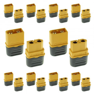 Amass 10 Pair XT60H Bullet Connector Plug Upgrated of XT60 Sheath Female and Male Gold Plated For RC Parts