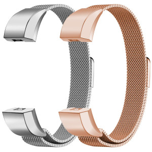 "Oitom For Fitbit Alta HR Accessory Bands and For Fitbit Alta Band,New Fashion Stainless Steel Milanese Loop Wristband (2 Pack Silver+Rose Gold, Small 5.1""-6.7"")"