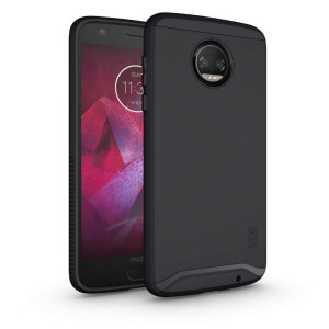 Moto Z2 Force Case, TUDIA Slim-Fit HEAVY DUTY [MERGE] EXTREME Protection / Rugged but Slim Dual Layer Case for Motorola Moto Z Force (2nd Generation), Moto Z2 Force Droid Edition (Matte Black)
