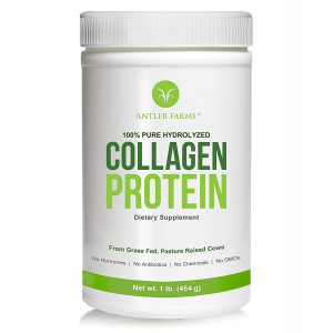 Antler Farms - 100% Pure Hydrolyzed Collagen Protein Powder from European Grass Fed Cows, Unflavored, 1 lb - Cold Water Soluble Collagen Peptides, NO Hormones, NO Antibiotics, NO Chemicals, NO GMOs