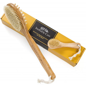 Dry Brushing Body Brush for Dry Skin Brushing and Exfoliating with 100% Natural Boar Bristles and Long Handle kit - Back Brush Scrubber, Bath and Shower Brush, Face Brush, Cellulite Massager Brush Gift Set