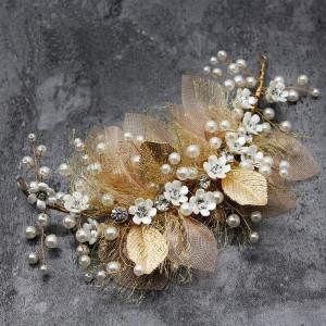 Wedding Headpieces Flower Wreath, Pearls Headband Tiara, Crystals Hair Accessories for Bride Bridesmaid, Gold (7.9 x 3.5)