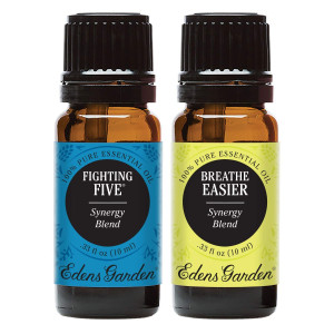 Fighting Five + Breathe Easier Value Pack 100% Pure Therapeutic Grade  Essential Oil by Edens Garden- 2 Set 10 ml