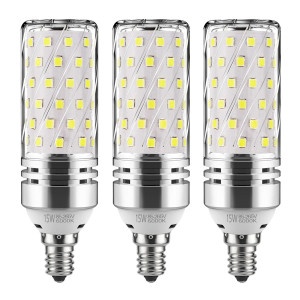 GEZEE E12 LED Corn Bulbs,15W LED Candelabra Light Bulbs 120 Watt Equivalent, 1500lm, Daylight White 6000K LED Chandelier Bulbs, Decorative Candle Base E12 Non-Dimmable LED Lamp(3-Pack)