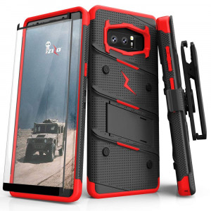 Zizo Bolt Series Compatible Samsung Galaxy Note 8 Case Military Grade  Drop Tested Tempered Glass Screen Protector Holster Black RED