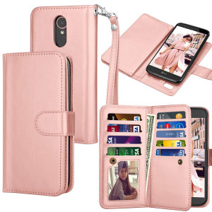 Tekcoo LG Stylo 3 Wallet Case/LG Stylo 3 Plus/LG Stylus 3 PU Leather Case, Luxury ID Credit Card Slots Holder Carrying Flip Folio Cover [Detachable Magnetic Hard Case] -Rose Gold