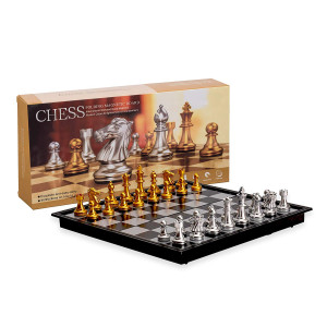 Magnetic Travel Chess Set with Board That Becomes A Storage Compartment  Great Travel Toy Set by Big Mo's Toys