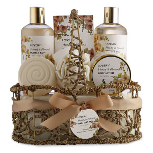 Mother's Day Gifts - Home Spa Gift Basket - Honey and Almond Scent - Luxury Bath and Body Set For Women/Men-Contains Shower Gel, Bubble Bath, Lotion, Bath Salt, Bath Bomb, Puff and Handmade Weaved Basket