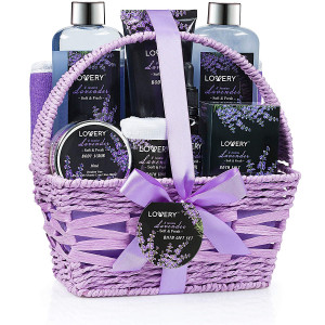 Home Spa Gift Basket, Luxurious 9 Piece Bath and Body Set for Women/Men, Lavender and Jasmine Scent - Contains Shower Gel, Bubble Bath, Body Lotion, Bath Salt, Scrub, Massage Oil, Loofah and Basket