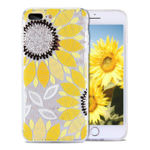 iPhone 8 Plus Case for Girls, iPhone 7 Plus Case, FGA Cute Yellow Sunflower Floral Pattern Clear Design Anti-slip Scratch-proof Ultra Slim Case for iPhone 8 Plus (2017), iPhone 7 Plus (2016)