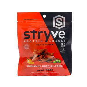 Stryve Beef Biltong Peri Peri | No Fat, Low Carb, Low Sugar | 16g Protein | 2.25oz | Gluten Free and Ketogenic