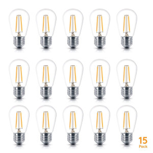 Brightech  Ambience PRO LED S14 1 Watt Bulb - 1 Watt  Use to Replace High-Heat, High-Cost Incandescent Bulbs in Outdoor String Lights  Edison-Inspired Exposed Filaments Design- 15 Pack