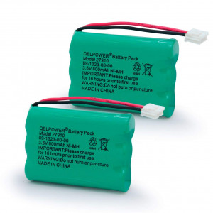 QBLPOWER 27910 Cordless Phone Battery Rechargeable Compatible with Vtech 89-1323-00-00 atandT E1112 E2801 TL72108 Motorola SD-7501 RadioShack 23-959 Cordless Handsets 3.6V(Pack of 2)